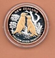 LIBERIA $10 2004 NIEUW ZEELAND PINGUINS SILVER PROOF MET 24 KT GOUD EN BRILJANT IN OGEN ZEER KLEINE OPLAGE - Liberia