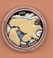 LIBERIA $10 2004 USA ADELAAR SILVER PROOF MET 24 KT GOUD EN BRILJANT IN OGEN ZEER KLEINE OPLAGE - Liberia