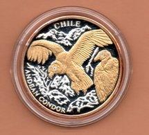 LIBERIA $10 2004 CHILI CONDOR SILVER PROOF MET 24 KT GOUD EN BRILJANT IN OGEN ZEER KLEINE OPLAGE - Liberia