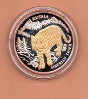 LIBERIA $10 2004 RUSLAND SIBERISCHE TIJGER SILVER PROOF MET 24 KT GOUD EN BRILJANT IN OGEN ZEER KLEINE OPLAGE - Liberia