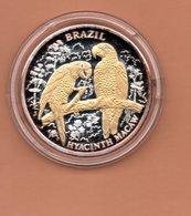 LIBERIA $10 2004 BRAZILIE PAPAGAAIEN SILVER PROOF MET 24 KT GOUD EN BRILJANT IN OGEN ZEER KLEINE OPLAGE - Liberia