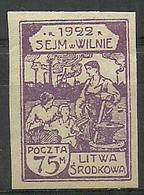 Republic Of Central Lithuania 1922 Mi 47B Fi 47A Mh - Mint Hinched ( PLZE3 LTS47B ) - Usines & Industries
