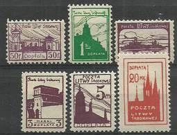 Republic Of Central Lithuania 1921 Mi Por 1-6 Fi Por 1-6B Mh - Mint Hinched ( PZE3 LTSpor1-6 ) - Architecture