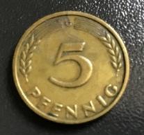 """GERMANIA - DEUTSCHLAND - 1949 - 5 PFENNIG """" G """"  , Ottime Condizioni - [ 7] 1949-… : RFA - Rep. Fed. Tedesca"""