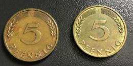 """GERMANIA - DEUTSCHLAND - 1950 - 5 PFENNIG """" J """"  , Ottime Condizioni - 1 Pfennig"""