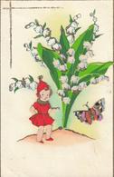 Thematiques Voeux 1 Er Mai 1944 Découpi Muguet Papillon Fillette - Other