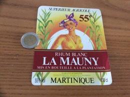 Etiquette 55% «RHUM - LA MAUNY - MARTINIQUE - Anciens Ets Bellonnie Bourdillon Et Cie - Rivière-Pilote» - Rhum