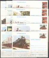 M1263 Transport Trains Locomotives Rail Roads 1995 Romania 14 PC Postcards Set ** RARE - Trenes
