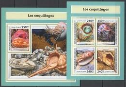 UU177 2017 DJIBOUTI MARINE LIFE LES COQUILLAGES SEASHELLS SHELLS KB+BL MNH - Coquillages