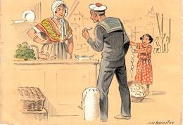 Thematiques Croquis Régionaux J H Bonnefoy Pêche Huitre L'écaillère Marin Fillette - Künstlerkarten