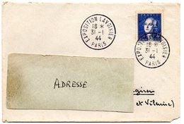 PARIS 1944 = CACHET PETIT FORMAT TEMPORAIRE  = EXPOSITION LAVOISIER + N° 619 - Marcophilie (Lettres)