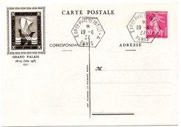 PARIS 1937 = CACHET PETIT FORMAT HEXAGONAL  = EXPOSITION PEXIP Sur ENTIER SEMEUSE + CP OUVRE - Exposiciones Filatélicas