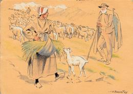 Thematiques Croquis Régionaux J H Bonnefoy La Transhumance Bergers Moutons Chèvre - Illustratori & Fotografie
