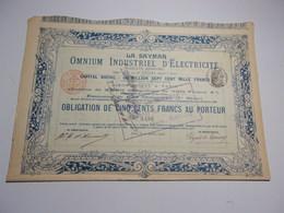 LA SAYMAR Omnium Industriel D'electricité (1900) - Actions & Titres
