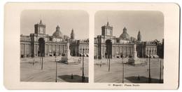 Stereo-Foto N.P.G., Berlin-Steglitz, Ansicht Napoli / Neapel, Piazza Dante - Photos Stéréoscopiques