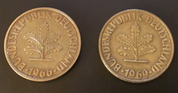 GERMANIA - DEUTSCHLAND  2 Monete 10 PFENNIG 1966 D E 1969 G - 10 Pfennig