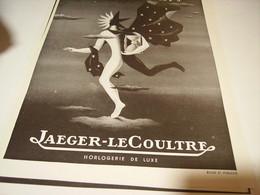 ANCIENNE PUBLICITE MONTRE ELOGE DU TEMP JAEGER LECOULTRE 1949 - Bijoux & Horlogerie