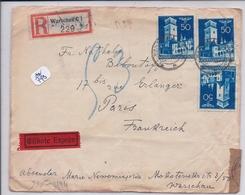 POLOGNE- WARSCHAU- LETTRE RECOMMANDEE POUR PARIS- 1941- VALEURS COMPLEMENTAIRES AU DOS- CENSURE - 1939-44: 2ème Guerre Mondiale