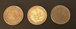 GERMANIA - DEUTSCHLAND 3 Monete 10 PFENNIG 1978 D E 1979 F E G - 10 Pfennig