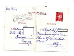 Carte Postale 1F20 Petain  Cachet Bordeaux Surtaxe Aerienne 1942 Pour Alger  Plié - Postal Stamped Stationery