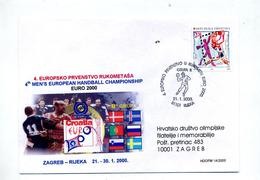Lettre Cachet Rijeka Championnat Europe Handball 2000 - Croatie