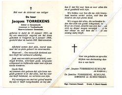 JACQUES TORREKENS ° AALST 1931 + TONGEREN 1968 / DOKTER IN DE GENEESKUNDE/ FAMILIE TORREKENS-SCHULPE - Images Religieuses