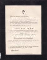CHARLEROI FARCIENNES Emile HENIN 1840-1928 Charbonnages Aiseau-Presle Glaceries Poudreries Marcinelle Charleroi - Avvisi Di Necrologio