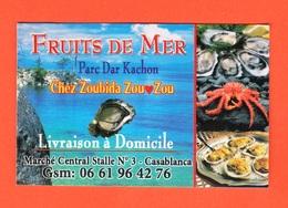 Casablanca, Morocco. Business Card Fruits De Mer Mrs Chez Zoubida Zou Zou. - Cartoncini Da Visita