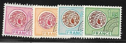 SERIE TIMBRE N° 134  A 137   PREOBLITERE  -   MONNAIE GAULOISE     -  OBLITERE - 1964-1988