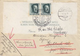 Demi Bloc Feuillet N° 8 Sur Lettre De Kossen B Le 1 IX 38 + Oblitération Illustrée Nuremberg Le 22/9/38 - Ungebraucht