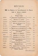 Namur , Menu ,Réunion Des Notaires De L'arrondissement De Namur ,Hotel D'Harscamps , 1 Mai 1882 ; ( Notaire ) - Menus