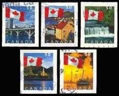 Canada (Scott No.2076-80 - Drapeau / Flag) (o) Timbres Courants / Definitives - Série / Set - 1952-.... Règne D'Elizabeth II