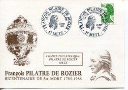 France- 1985-YT 2378 Sur Carte F.Pilatre De Rozier,1er Homme Volant Et Victime De L'air - France
