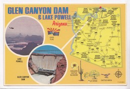 GLEN CANYON DAM & LAKE POWELL, Arizona, Used Postcard [22596] - Lake Powell
