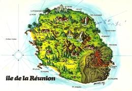 *CPM - 974 - LA REUNION - Carte Géographique Stylisée De L'île - La Réunion