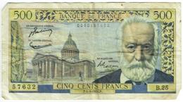 Billet. France. 500 Francs. Victor Hugo. 4-3-1954 - 1871-1952 Circulated During XXth