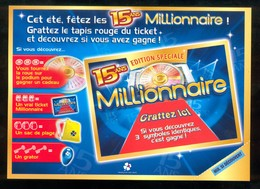Promo FDJ - 15 Ans Du MILLIONNAIRE - 36105 Neuf - Billets De Loterie