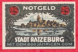 Allemagne 1 Notgeld De 25 Pfenning Stadt Ratzeburg UNC  N °2392 - [ 3] 1918-1933 : République De Weimar