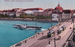 Basel, Mittlere Rheinbrücke, Tramways Et Bateau à Vapeur (31.8.15) - BS Bâle-Ville
