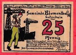 Allemagne 1 Notgeld De 25 Pfenning Stadt Blumenthal UNC  N °2394 - [ 3] 1918-1933 : Weimar Republic