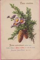 "CPA ""Vœux Sincères"" Pommes De Pin, 13-11-1933 - Bäume"