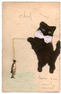 Fantaisie / 1er AVRIL, POISSON D'avril (chat Pêcheur En Feutrine, Poisson Métal). - April Fool's Day