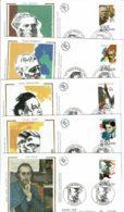 1992 - 5 Env FDC - MUSICIENS CELEBRES (Satie - Auric - Honegger - Schmitt - Franc) - Tp N°2747 à 2751 - Images Sur Soie - FDC