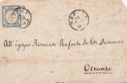 E28- PROVINCE NAPOLETANE-  Frontespizio Del 1862 Da Napoli A Otranto  Con 2 Grana Azzurro . - Naples