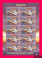 MOLDOVA 2018 Bessarabia With Romania Union Centenary History Flag Coat Of Arms Sheetlet Mi Klb.1069 Sc1005 MNH - Stamps