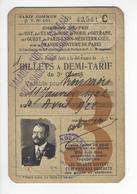 BILLET BILLETS TICKET CHEMINS DE FER DONT PLM ALSACE LORRAINE 1922 JULES RATHELOT /FREE SHIP. R - Chemins De Fer