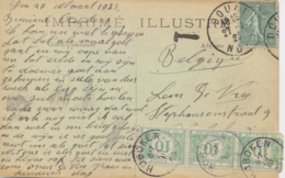France 1923 Picture Postcard Douai Posted To Belgium With 15 C. And Taxed 3 X 10 C. Belgian Tax Stamps - Storia Postale