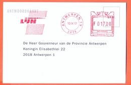 Belgium Nice Card De Lijn Bus Tram Transport 1997 Antwerpen - Machines à Affranchir