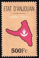 Comores ANJOUAN INDEPENDANTE (1997-2001) - Timbres Fiscal 500 Fc Neuf ** - Revenue Stamp MNH - RARE ! - Comores (1975-...)