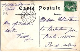 62 - PAS DE CALAIS - BERCK VILLE - 1913 -  TàD De Type A3 EN ARRIVEE SUR CP - Marcophilie (Lettres)